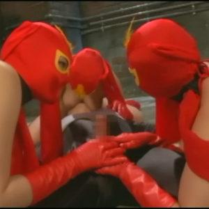 洗脳痴女化した仮面三姉妹ヒロインがヒーローを快楽拷問で連鎖堕ちさせていく・・・